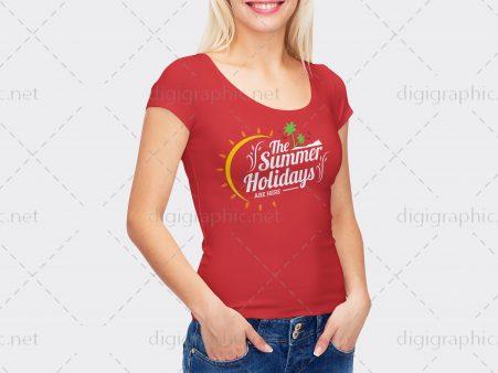 موکاپ تیشرت قرمز زنانه