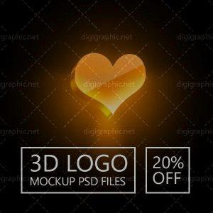 موکاپ لوگوی سه بعدی دیجیگرافیک