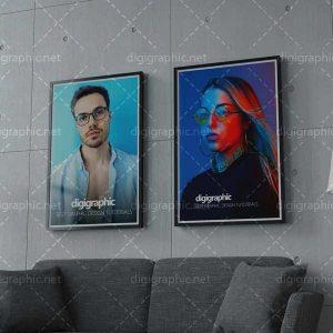 موکاپ پوستر روی دیوار
