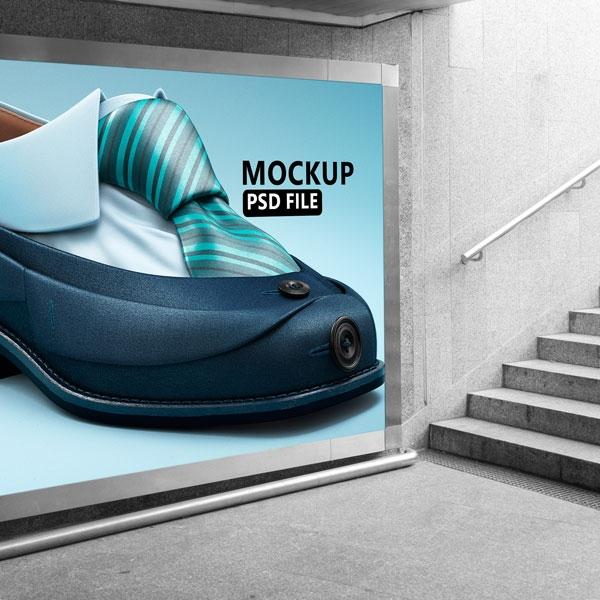 موکاپ پوستر تبلیغاتی مترو